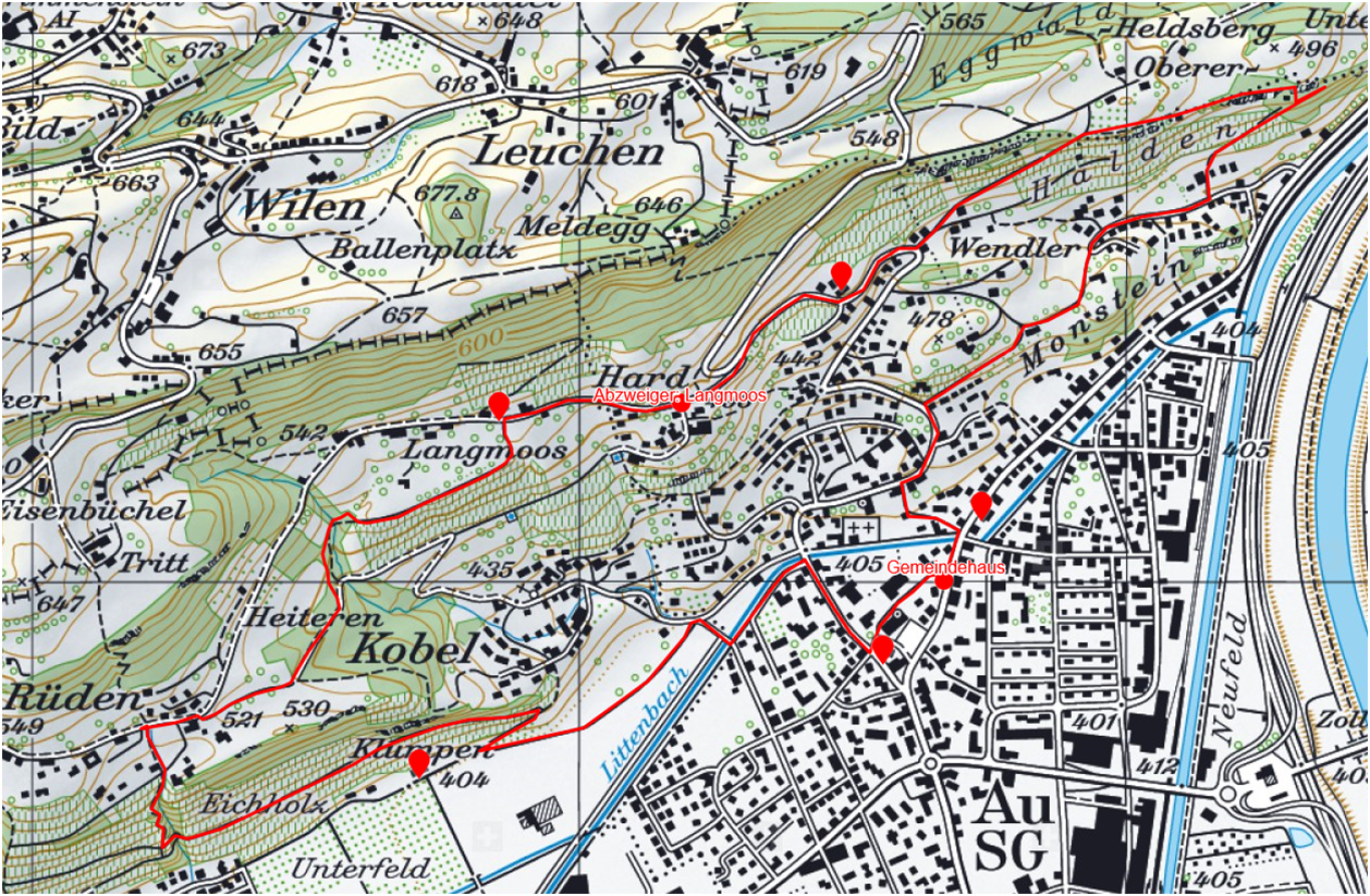 gesamt Ansicht, Wandervorschlag Au/Berneck