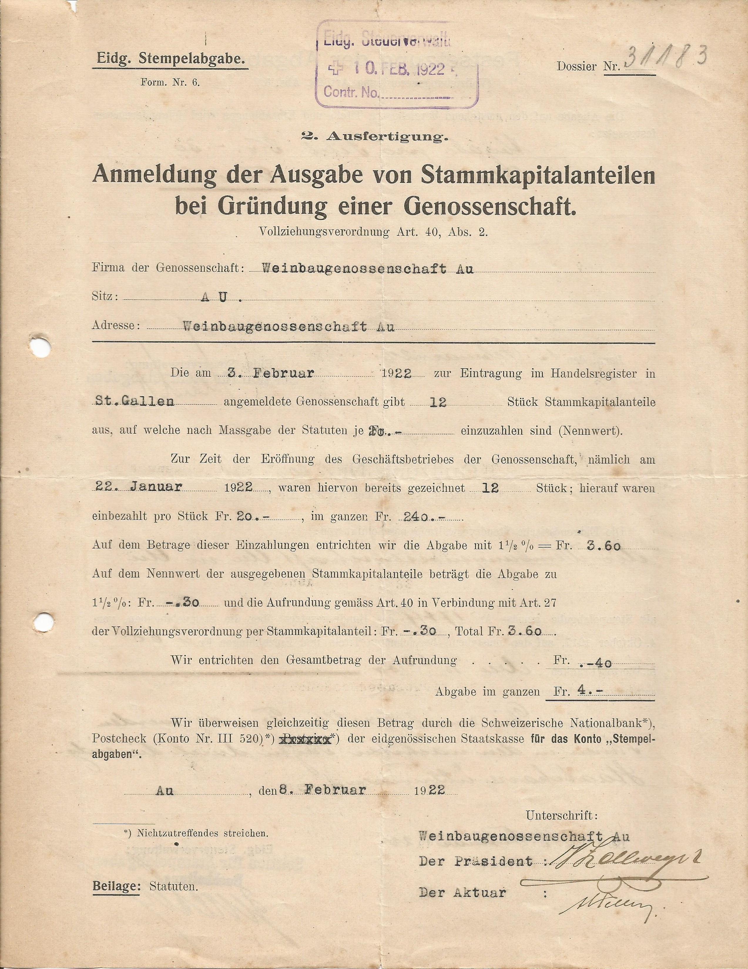 Gründungsdatum der WBG-AU 3. Februar 1922, ersichtlich aus einem Dokument der Eidg. Steuerverwaltung